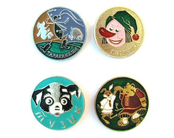 Cartoon characters, Soviet Children's badges, Pick from Set, Dog, Animal, Round Vintage collectible badge, Pin, Soviet Union, Made in USSR