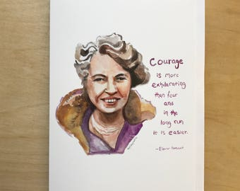 Eleanor Roosevelt Portrait and Inspiring quote, 5x7 greeting card, Ready to Ship