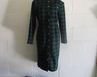 Womens Vintage SUPER Cute Green and Black Plaid Checkered Long Sleeve Dress
