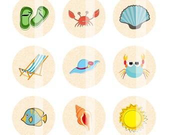 Beach Digital Collage Sheet, Beach Bottlecap Images, 1 inch circles