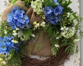 Spring Wreath for Front Door, Hydrangea Wreath, Blue Wreath, Front Door Wreath