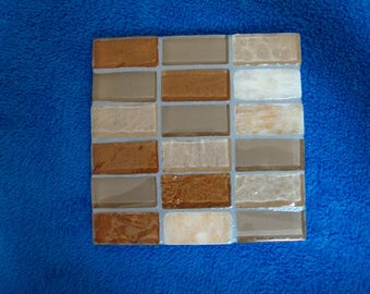Handmade Tile Trivet in Warm Browns Creams and Tans