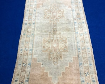 Faded rug Vintage Turkish Rug , Decorative Turkish Oushak Area Rug Carpet, Anatolian Home Decor rug Wool Area Rug 3''9x7''6 ft CODE:041