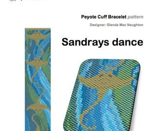 Sandrays Dance PDF beaded peyote cuff bracelet or bookmark: Instant Downloadable Pattern PDF File
