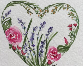 An Original Lavender and Roses Heart watercolor Note Card