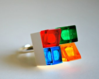 Play Day Lego White Brick Ring - Build Your Own LEGO Jewelry - Pretend Create - Modern - Cool - Upcycled - Kid Jewelry - Tweens