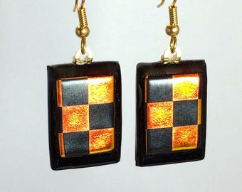 Dangling Fused Art Glass Dichroic Checkerboard Earrings