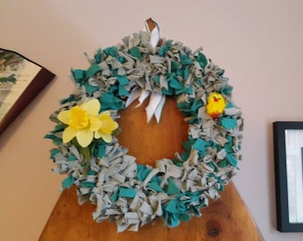 Shabby Chic Dark Green Spring Wreath