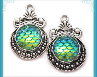 2 Blue Green Resin Mermaid Charms- Silver Mermaid Scale Resin Charms - Dragon Scale Charms 28mm PS223