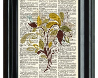 VINTAGE DICTIONARY PRINT, dictionary page, Upcycled dictionary art print, Abstract Floral Art design 8.25x11.25 num. 24