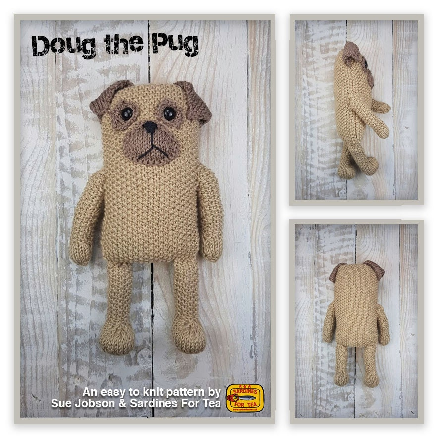 Knitted toy knitting pattern for Doug the Pug dog PDF download