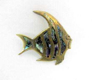 Vintage Taxco Sterling Silver Abalone Fish Brooch / Angel Fish / Pin / Signed E S / 925 Silver / Inlaid Abalone / Mexican Silver / Gold Wash