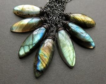 Labradorite Necklace - Labradorite Pendant - Third Eye Chakra Necklace - Wiccan Jewelry - Healing Gemstone Necklace - Gothic Necklace