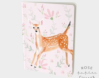 Notebook Fawn and flowers // Journal, 48 pages book, Ruled pages, Large notebook 7.25 x 10 in with a deer illustration and flowers, Gift