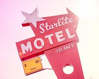 Mid Century Modern Sign, Starlite Motel, Central Ave NE, Minneapolis, Sunburst, Red, Pink, Square Fine Art Photography