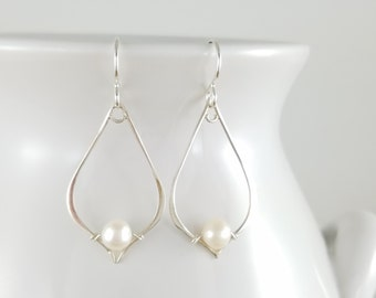 Pearl drop earrings -Sterling silver -Jewelry By A.H.