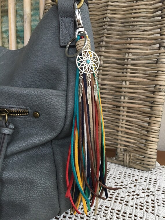 "Dreamcatcher Bag Charm and Tassel Keyring - Long Fringe Tassel  8"" + clip -  Tassel Keychain and Clip (OOAK51)"