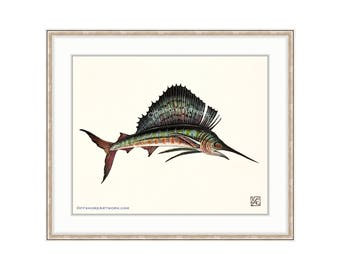 "Sailfish Giclee Print of a Watercolor Painting 8""x10"" for the Saltwater Angler. Deep Sea Fishing. Billfish. Offshore Fishing Charter. Trophy"