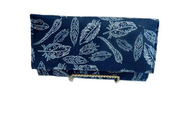 Navy leaf print womens clutch wallet, organizer wallet, thin wallet, vegan wallet,accordion wallet, gift for her, ready to ship
