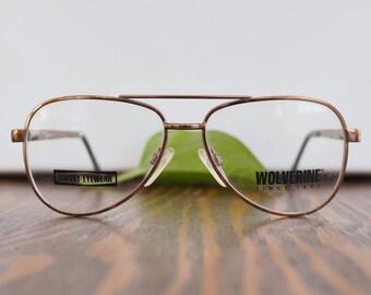 Vintage 70's Eyeglass/Aviator/New Old Stock/1970's Copper Toned By Kenmark MAde In Korea 1970's eyeglasses