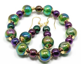 Mardi Gras Bracelet and Earrings, Stretch Bracelet, Mardi Gras Earrings, Czech AB Round Beads, Beaded Glass Bracelet, Mardi Gras Carnival