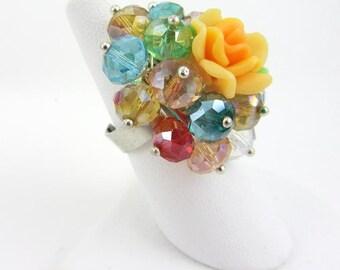 Color Burst Beaded Flower Ring
