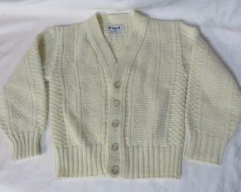 Vintage 60s Boys Little Cardigan Sweater Cream Cable Knit Acrylic Button Front Geek Rockabilly Preppy