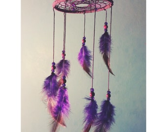 Purple dream catcher mobile, faux suede, purple web, rooster feathers finish 10cm diameter dreamcatcher hand made