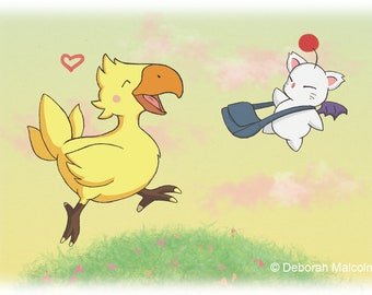 "A4 ""Chocobo and Moogle Adventure"" Print. Final Fantasy Fanart."