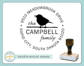 Handle Mount Stamp - CAMPBELL Style - Bird Personalized Name Return Address Stamp - Perfect Wedding Housewarming Bridal Shower Gift