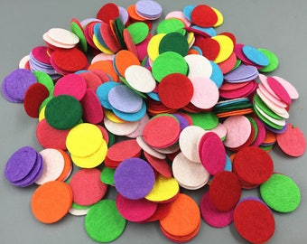 25 appliques pastilles of felt (mixed colors)