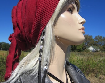 Red Knit Beanie Hat Rose Rag Back Slouch Tam A1496