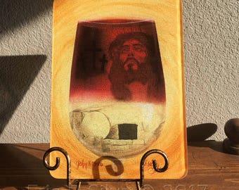 He Has Risen Glass Cutting Board