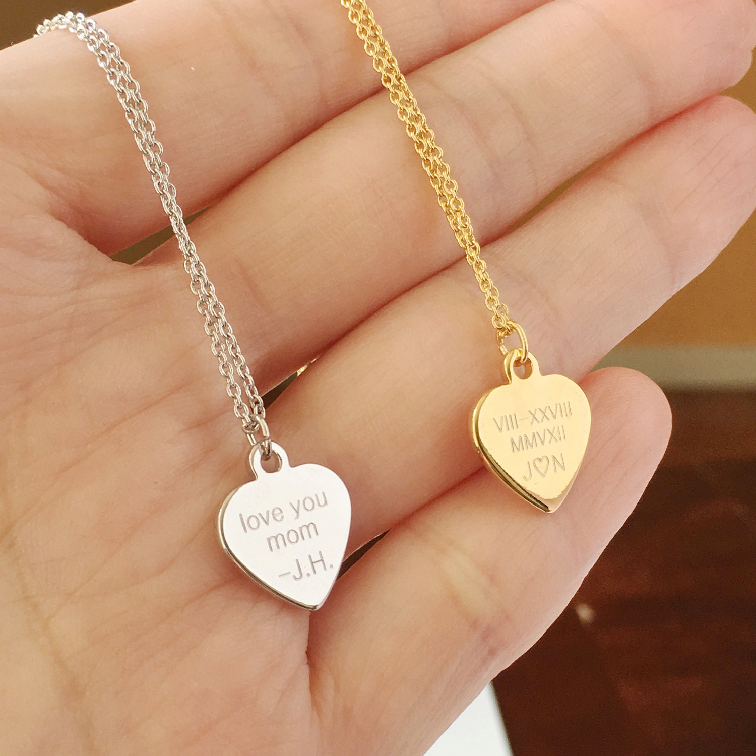 Custom Engraved Necklace Engraved Heart Necklace Roman