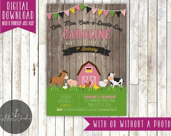 Girl Farm Birthday Invitation, Barnyard Birthday Invite, Farm Animals Invitation, Old McDonald, Photo - Printable DIY