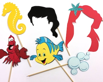 Mermaid Inspired props, photobooth props, the little mermaid Inspired party decorations, birthday party