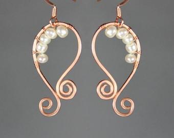 Rouleau de câblage cuivre Pearl hoop boucles d'oreilles fait main US freeshipping Anni Designs