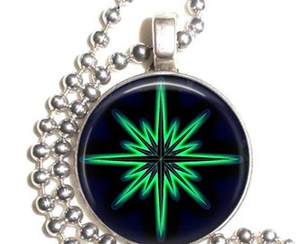 Mystica Glowing Fantasy Star Art Pendant, Earrings and Keychain, Photo Silver and Resin Charm Jewelry, Green Star Earrings, Star Key Fob