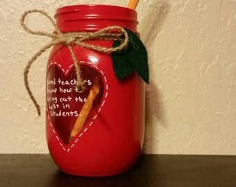 Apple red mason jar, teacher mason jar, pencil holder, teacher gift