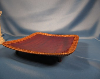 WOOD and WICKER CURVED Dish made in Indonesia, Mahogany like wood dish made in Indonesia,Curved tray with small legs made of wicker and wood
