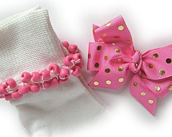 Kathy's Beaded Socks - Pink and Gold Foil Dots Socks and Hairbow, girls socks, pony bead socks, hot pink socks, gold socks, dot socks