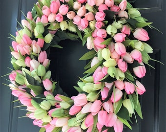 Pink and Green Tulip Wreath