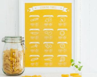 Cooking Times Kitchen Poster - foodie gift, scandinavian design art print, modern, art, decor, infographic, COLORS 8x10 12x16 16x20 A4 A3