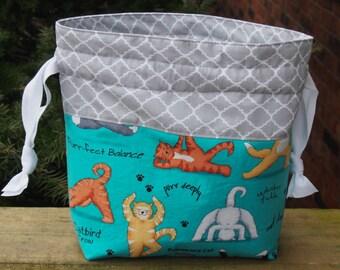 Cat Yoga Drawstring Knitting Project Bag/ Pockets/ Measuring Tape