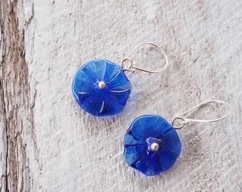Blue earrings. Flower earrings. Glass earrings. Statement earrings. Glass flower earrings. Upcycled. Recycled glass. Gift for her.