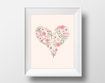 SALE -  Pastel Heart, Floral Heart, Baby Girl Nursery Print, Girl Nursery, Girl Print, Floral Print, Floral Poster, Pastel Poster