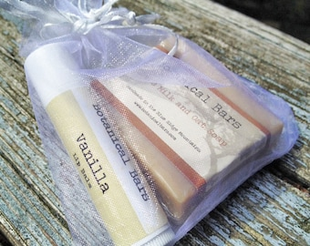 Reserved: 105 Custom Soap and Lip Balm Favor Stocking Stuffers - Bridal Shower Favors - Wedding Favors - Lip Balm Gift Set
