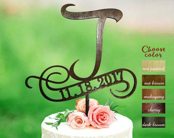 Letter j Cake Topper, Cake Topper Letter j, Wedding Cake Topper, Monogram Cake Topper Wood, Rustic Letter Cake Topper, j cake topper, CT#227