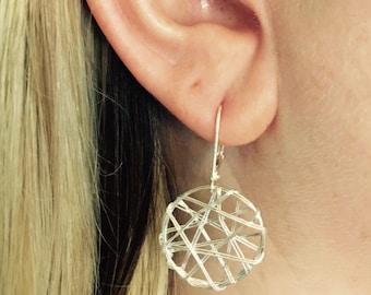 Silver Wire Wrap Earrings/Silver Boho Earrings/Bohemian Earrings/Artsy Earrings/ Dainty Earrings/Drop Earrings/Gifts For Her/Gypsy/Hippie