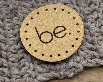 20 Custom Round Cork labels -  Personalized labels, Custom Labels , Knitting Labels, Crochet Labels, Cork Fabric, Cork Leather